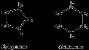 Moléculas de ciclopentano y ciclohexano
